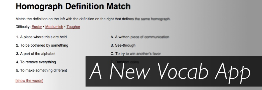 A homograph definition matching game